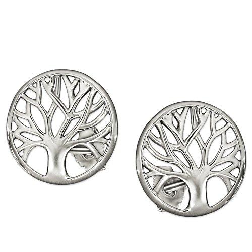 Clever sieraden zilveren dames oorstekers levensboom Ø 10 mm eenvoudig glanzend licht plastic gedeeltelijk open 925 sterling zilver