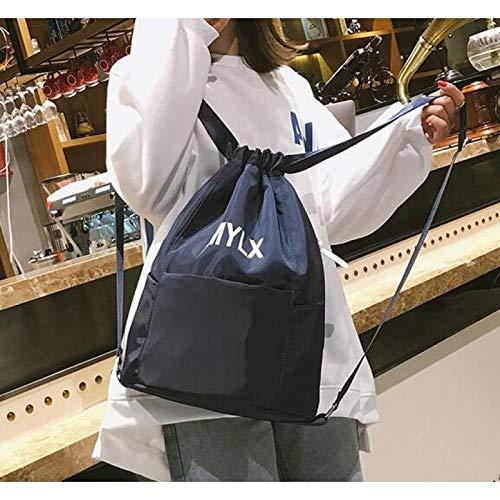 Mochilas Cordón Drawstring Mochila para Hombres y Mujeres Mochilas Deportivas Ligeras Mochila Simple Bolsas Tutorial Paquete suplementario, Tela Oxford Azul Oscuro Grande