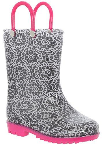Capelli New York Toddler Girls Lace Print Rain Boot Black Combo 6/7