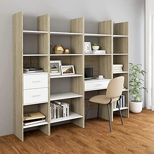 Susany Set Armario Libros 4 pzas Juego de Estanterías 4 pzas Madera Aglomerada Blanco y Roble Sonoma 200 x 35 x 180 cm