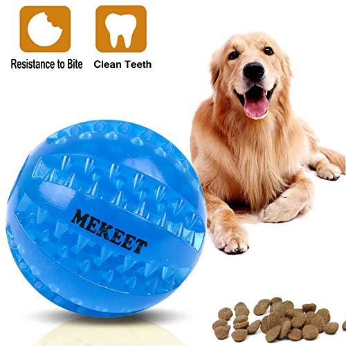 MEKEET Pelota de Juguete para Perros, Pelota de Juego de Limpieza de Dientes para Pelotas de Comida para Perros, Pelota para Masticar de Juguete Resistente a la mordedura no tóxica (Azul)