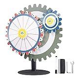 WinSpin 24' Dual Gear Linkage Prize Wheel Tabletop Spinning Game Editable 15 Slots Carnival Tradeshow Flea Market