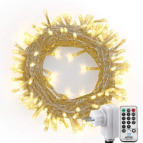 LED Lichterkette Weihnachtsbeleuchtung Außen, NEXVIN 23M 200 LED Wasserdicht Lichterkette Warmweiß mit Fernbedienung & Timer 8 Modi für Weihnachten Innen Außen Weihnachtsbaum Deko