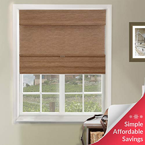 Chicology Cordless Magnetic Roman Shades Privacy Fabric Window Blind, 33'W X 64'H, Jamaican Truffle (Privacy & Natural Woven)