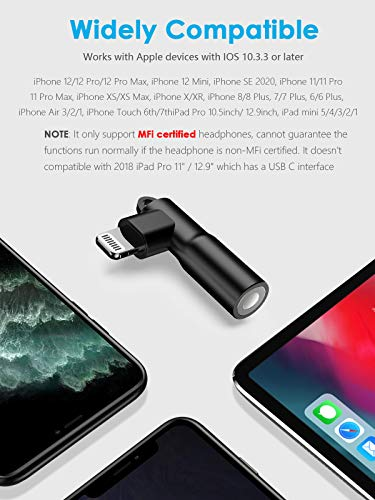 Mangotek Lightning to 3.5 mm Headphone Jack Adapter, Apple MFi Certified iPhone Headphones Adapter Aux Dongle Cable Adaptor Earphone Audio Converter for iPhone 12 11 Pro Max 7 8 Plus SE X XR XS Mini