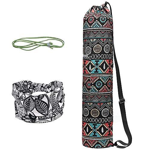 WANYIG Bolsa Esterilla de Yoga Lona Yoga Mat Bag Bolsas para Colchoneta de Yoga con Cuerda y Cinta para el Pelo Estampada para Gimnasio(Color 1)