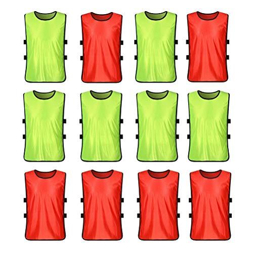 VORCOOL Petos de Futbol para Niños y Jóvenes Petos Deportivos - Tamaño S (Fluorescente Verde + Rojo) 12 Piezas