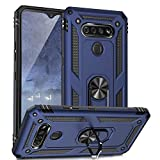 TJS Compatible with LG K51 Case, LG Q51 Case, LG Reflect Case, Impact Resistant Defender Metal Ring Kickstand Magnetic Support Drop Protective Cover Phone Case (Blue)