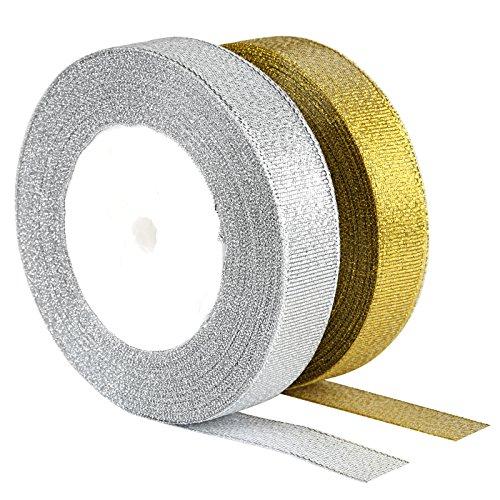 Kesote Schleifenband 2 Rollen Geschenkband 25 Yard Dekoband für Hochzeit Party Geschenk (Gold und Silber)