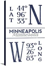 Minneapolis, Minnesota - Latitude and Longitude (Blue) (24x36 Gallery Wrapped Stretched Canvas)