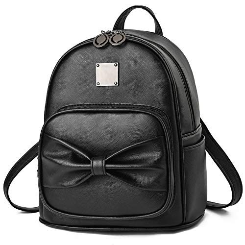 Girls Bowknot Cute Mini Backpack Fahsion PU Leather Backpack Purse for Women Rucksack for Ladies Shoulder Bag