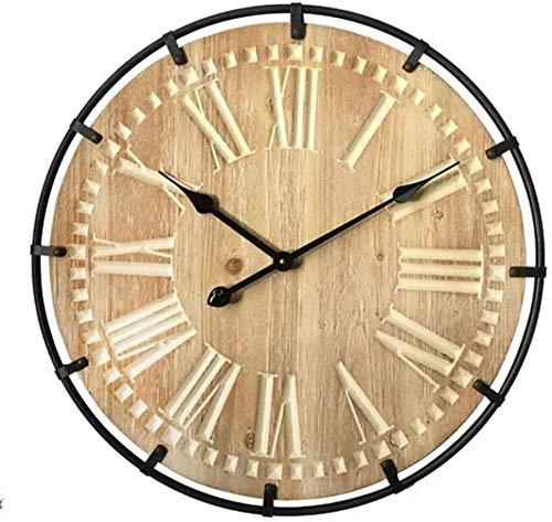 Cálida casa estilo europeo hierro arte retro sala de estar reloj de pared abeto grabado láser mudo creativo reloj de pared diámetro 60 cm