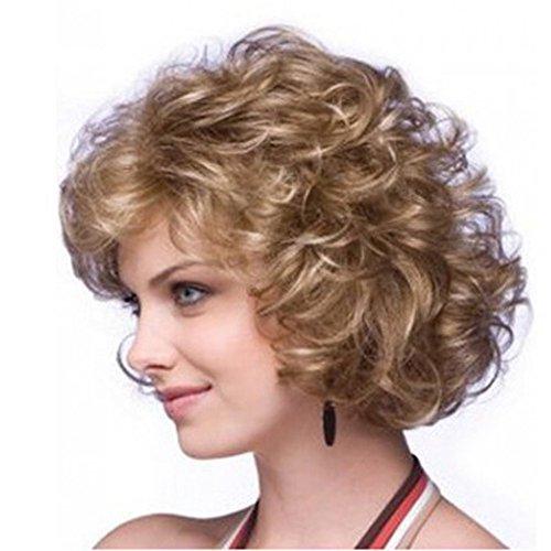 Wigs Curly, Vovotrade® Cheveux bouclés Court Paragraphe Dames élégantes Capuchon Mode Atmosphérique Perruques (gold)