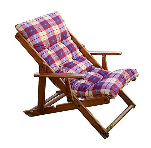 Poltrona Sedia Sdraio Relax 3 Posizioni in Legno Pieghevole Cuscino Imbottito H 100 CM Colore Come Foto (Bordeaux)