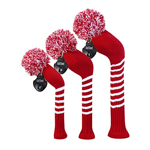 Scott Edward Stripes Style Knitted Golf Club Head Covers Set of 3, fit for Driver Wood(460cc), Fairway Wood, Hybrid(UT), for Men/Women Golfers, Individualized Looking and Washable (Crimson Red)