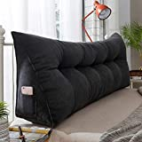 WGYDREAM Headboard Pillow Large Bolster Triangular Wedge Reading Pillow Headboard Backrest Cushion Sofa Bed Upholstered Bolster Cushion (Color : Black, Size : 200cm)