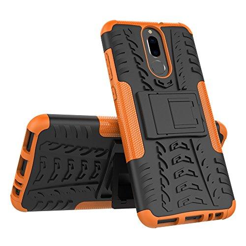 JMstore Cover Compatibile con Huawei Mate 10 Lite SchermoVetro temperato,[Staffa] Custodia in Silicone Misto Doppio (Arancione)