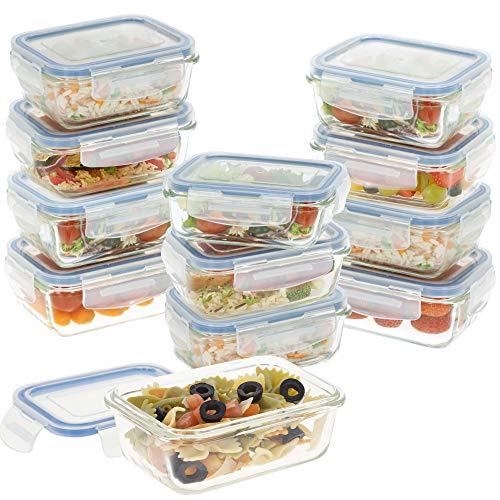 Aktive - Pack 12 Recipientes Herméticos de Vidrio, Tupper Cristal Apto para Microondas, Envases para Comida con Cierre, 330 mililitros, Tapas Rectangulares, transparentes, Contenedor de Alimentos