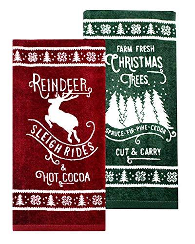 St. Nicholas Square Reindeer & Hot Cocoa Kitchen Towel Set, 2-Pack