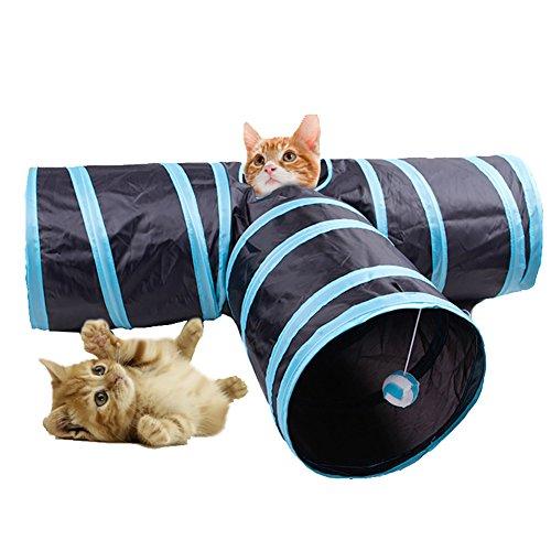 Skybright ペット用 キャットトンネル おもちゃ T型トンネル 四つの入り口 ボール付き 折りたたみ式3つのトンネル 子犬
