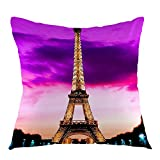 oFloral Eiffel Tower France Paris Home Decorative Throw Pillow Case Square Cushion Cover for Sofa Bed Chair Couch Decoration 18 x 18 Inch Purple