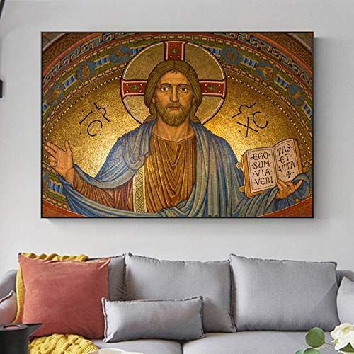 wZUN Carteles e Impresiones de Arte Cristiano Jesús creencias religiosas sagradas Pinturas de Arte de Pared sobre Lienzo Pinturas para la decoración de la Sala de Estar 60x80 Sin Marco