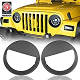 u-Box Black Front Headlight Bezels Angry Bird Insert Cover Trim for 1997-2006 Jeep Wrangler TJ
