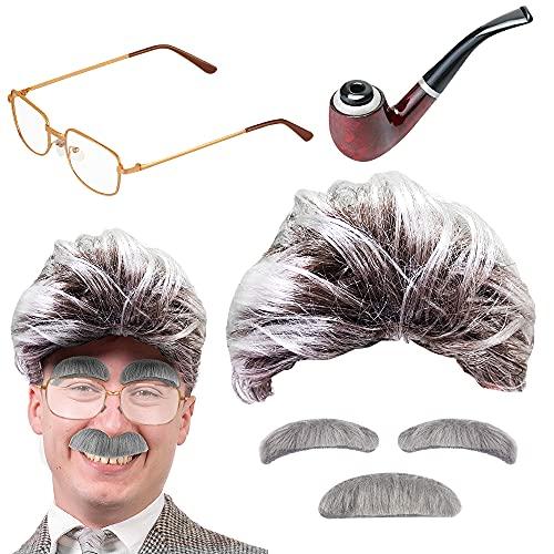 Disfraz de hombre viejo con peluca, cejas, bigote, gafas y pipa de tabaco, para hombre, Halloween, carnaval, novedad, profesor, cientfico loco, Albert Einstien
