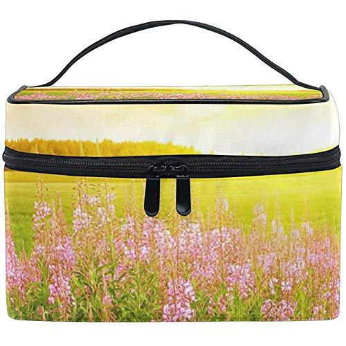 Champ de fleurs sac cosmétique voyage maquillage train cas stockage organisateur