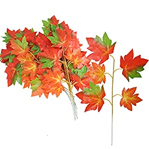 huaesin 20 pcs artificial maple leaves stems faux autumn red branches faux silk fall leaves with stems for thanksgiving halloween autumn wedding dining table centerpieces decor silk flower arrangements