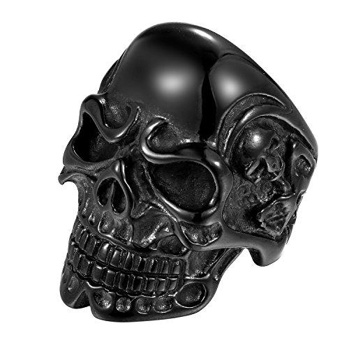 OIDEA Anello in acciaio inox nero per uomo, donna, teschio, diavolo, anello in acciaio inox, misura 57 (18,1) – 74 (23,6) e Acciaio inossidabile, 74 (23.6), colore: Nero , cod. O00160010-DE