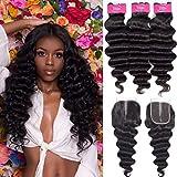 10a Brazilian Human Hair Loose Deep Wave Bundles with Closure (26 28 30+20) Grace Length Brazilian Virgin Hair Loose Deep Curly 3 Bundles with Closure 4x4 100% Human Hair