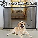 Magic Gate für Hunde, Verbessertes Treppen-Tor für Hunde und Babys, tragbares Klappnetz mit stärker verstärkten Haken und Stangen, einfach überall zu installieren-110 * 72CM (Schwarz)