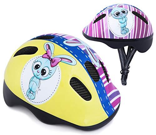 Spokey Fahrradhelm Kinder Schutzhelm mit integriertem Visier | Kinderfahrradhelm Belüftungsöffnungen | verstellbare Größe | Kopfumfang 44-48cm 49-56cm (Bunny, 44-48)