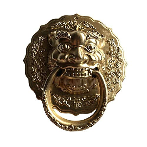 ZnMig Door Knocker Retro Pure Copper Door Knocker Beast Head Lion Vintage Door Buckle Pull Handle Copper Fittings with Cast Iron Knocker Wall Sculpture (Color : Multi-Colored, Size : Free Size)