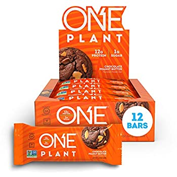 ONE Plant Protein Bars Chocolate Peanut Butter Vegan Gluten Free Protein Bars with 12g Protein & Only 1g Sugar Guilt-Free Snacking for High Protein Diets 1.59 Oz  12 Pack