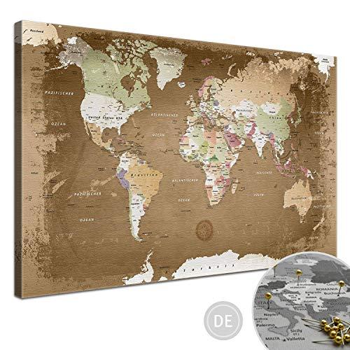 "LANA KK - Weltkarte Leinwandbild - Kork Pinnwand zum pinnen Deiner Reiseziele – ""Weltkarte Oldstyle"" - deutsch - Kunstdruck Globus in braun, fertig gerahmt in 100x70cm"