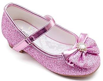 Furdeour Glitter Girls Princess Shoes Size 9 Cosplay Flower Toddler Girl High Heel Shoes Pink 9 Girls Wedding Girl Party Dress Shoes 3 Yr Little Kids Girl Cute Sequin Present Pink 9