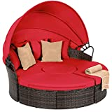 Best Choice Products 5-Piece Modular Patio Wicker Daybed Sectional Conversation Lounger Set w/ 2-in-1 Setup, Adjustable Seats, Clips, Retractable Canopy, Cover, Weather-Resistant Cushions - Red