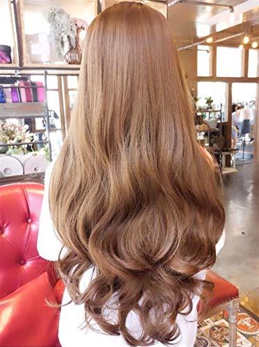 Perruque de longs cheveux Rose perruque nette femmes longue frange air cheveux bouclés moelleuses maïs chaud long rouleau (Color : Light Brown)
