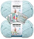 Bernat Baby Blanket Yarn - Big Ball (10.5 oz) - 2 Pack with Pattern Cards in Color (Seafoam)