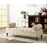 BLACK OAK Lewis Bolstered Lounge Entryway Bench Three Seater Sofa diwan Couch Lounger Lounge diwan Settee for Living Room Sofa Set (Beige)