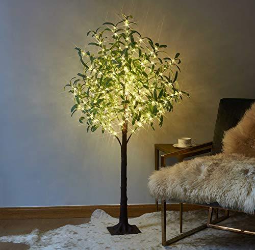 Hairui Árbol de olivo iluminado, 160 ledes de color blanco cálido, plantas verdes artificiales con luces para la decoración de la fiesta de boda