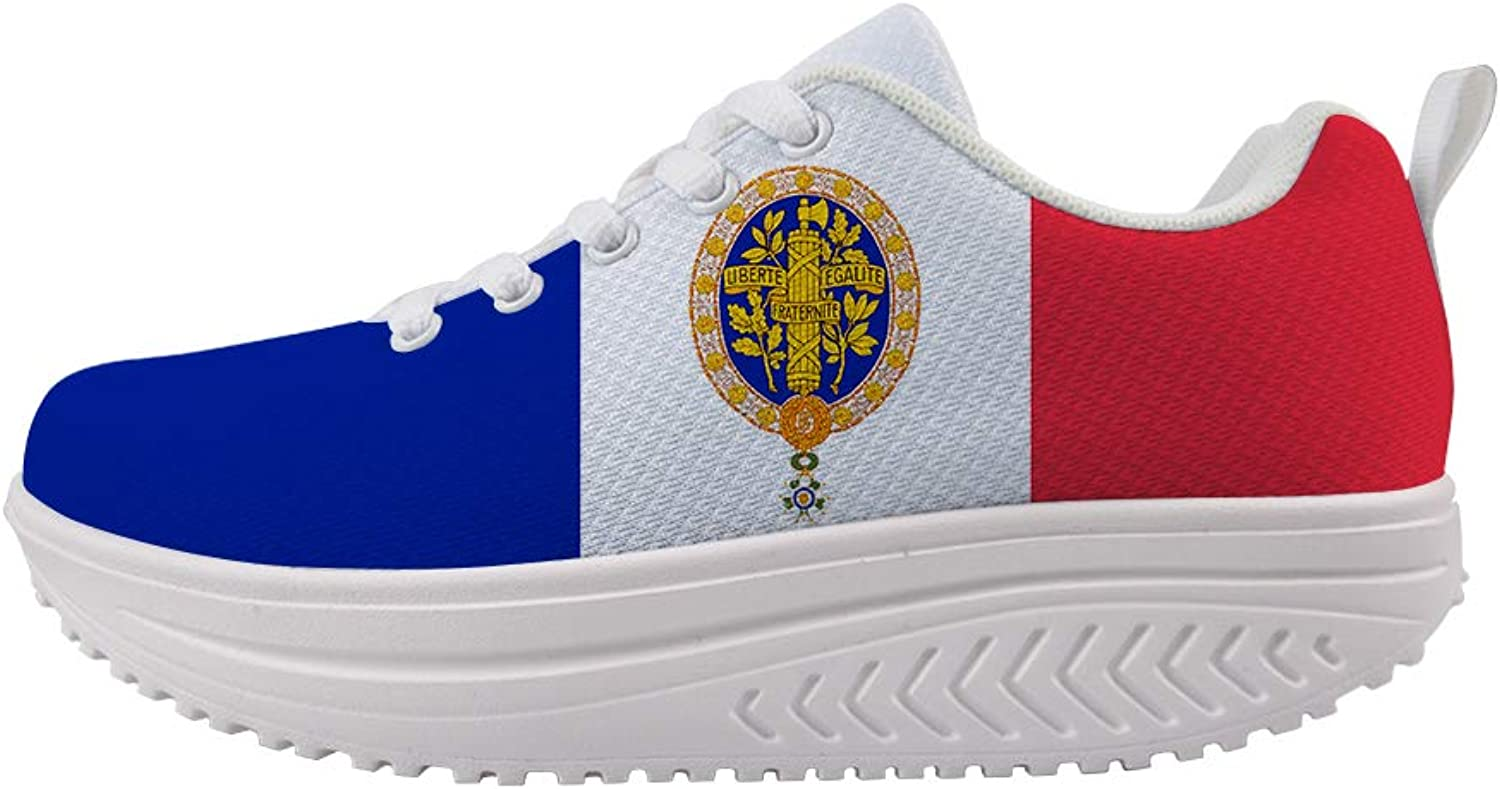 Owaheson Swing Platform Toning Fitness Casual Walking shoes Wedge Sneaker Women France Flag French National Emblem