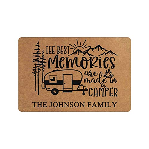"""MyPhotoSwimsuits Personalized Camper Doormat 24"""" X 16"""" Indoor Outdoor with The Best Memories are Made in A Camper Entrance Door Mat Rug Decor Custom Camping"""