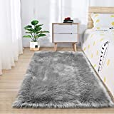 Zareas Super Soft Fluffy Bedroom Rugs, Luxurious Plush Faux Fur Sheepskin Area Rugs for Living Room Indoor Floor Couch Chair Vanity Home Decor Nursery Kids Girls Shaggy Carpet, Grey (2 x 3 Feet)