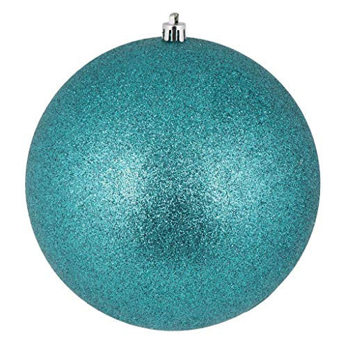 Vickerman 444344-4 Teal Glitter Ball Christmas Tree Ornament (6 pack) (N591042DG)