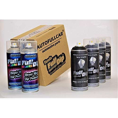AutoFullCar - Pack Sprays Full Dip Negro Metalizado Extra Protección Mate Vinilo líquido | FullDip
