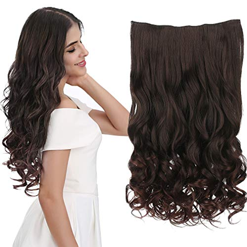 REECHO 16' 1-Pack 3/4 Full Head Curly Wavy Clips in on Synthetic Hair Extensions Hairpieces for Women 5 Clips 3.9 Oz per Piece - Dark Brown