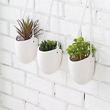 MyGift Modern Ceramic Hanging Planters, Succulent Plant Pots, Set of 3, White